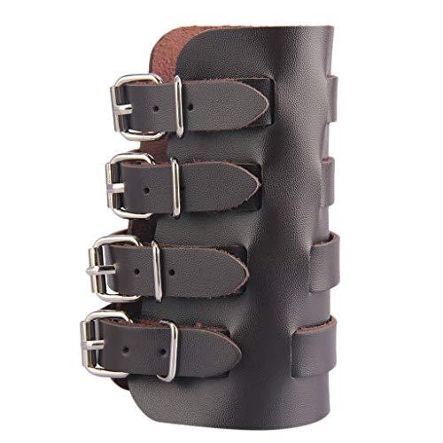 HenShiXin Steampunk Arm Armschiene Durable PU-Leder-Armband Arm Guards Gauntlet Cuff Mittelalterliche Armschienen Frauen Männer Verstellbarer Arm-Schutz So Schützen Sie Sich (Color : Brown)