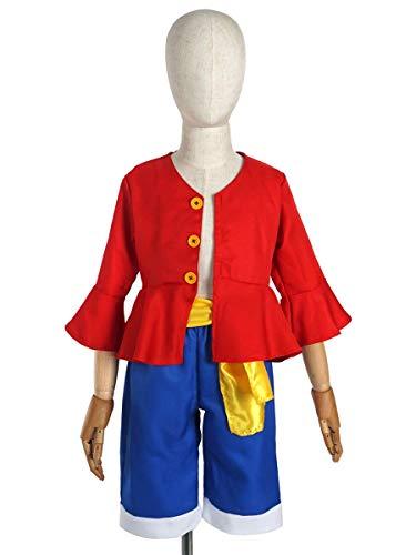 CoolChange Disfraz de One Piece para niños de Monkey D. Ruffy después del Salto Temporal, Chaqueta, Pantalones, Talla: 130