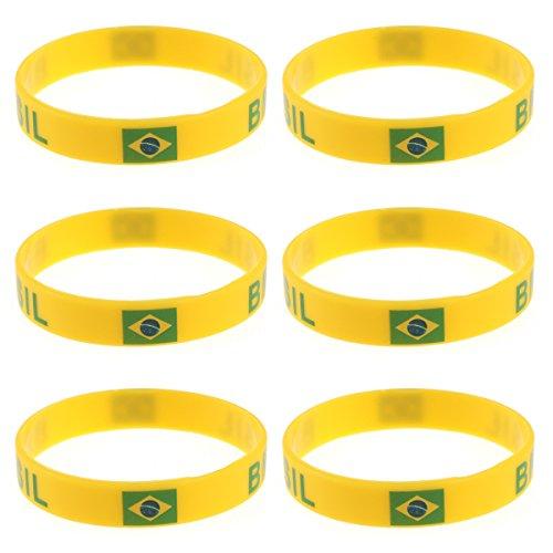 LUOEM Pulsera de Goma de Pulsera de Silicona Personalizada clásica Pulsera de Deportes de Moda, Moda de Adulto Adolescente Unisex Supreme para Copa Mundial de 2018 Pack de 6 (Brasil)