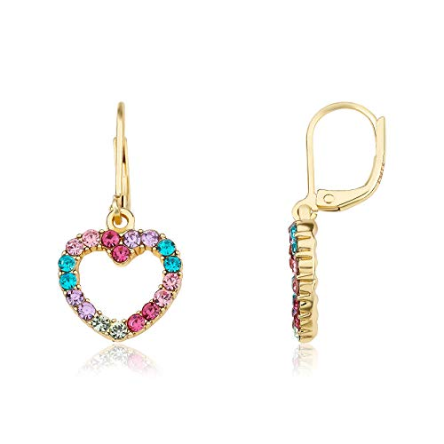 Little Miss Twin Stars Kids Earring - 14k Gold-Plated Multi Color Rainbow Dangle Leverback Earring - Hypoallergenic and Nickel Free For Sensitive Ears (Heart)