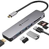 Hub USB C Adattatore Multiporta 7 in 1 USB C Hub Portatile con Ingresso HDMI 4K, 3 Porte USB 3.0, Lettore SD/Micro SD Compatibile Per MacBook Pro/Chromebook/XPS & Dispositivi USB C, Grigio Spaziale