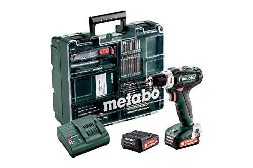 Metabo Akku Bohrschrauber BL 12 Set (mit Akku 2,0 Ah, 12 V, Akkuschrauber mit Koffer + Zubehör, inkl. Ladegerät, Bitdepot) 601036870