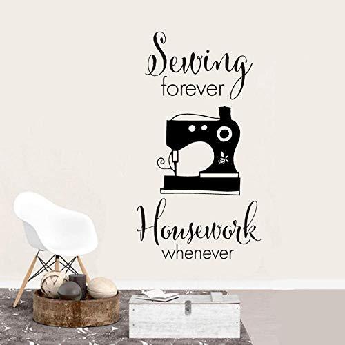 Muursticker naaien huiswerk voor altijd, gewoon citeren Vinyl muur Sticker naaimachine naaimachine winkel venster poster behang 42x77cm