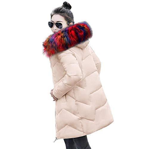 Winterjas met capuchon voor dames, winterjas, voor dames, slanke en warme jas voor dames, kaki 3_L