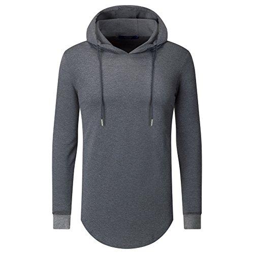Aiyino Mens Hipster Hip Hop Classic Pullover Long Hoodie Sweatshirts Jacket (US 2XL, Black)