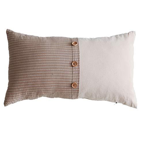 QXbecky Fundas de Cojines Funda de Almohada de Cintura Mori con Costura de Botones de algodón y Lino Simple sin núcleo Funda de Almohada de Microfibra para decoración de sofá 30x50cm