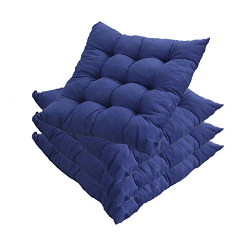 YYRZ Wicker Seat Cushion, Indoor/Outdoor Patio Furniture Cushions Pad, with Ties for Non Slip, Soft and Comfortable, Outdoor Seat Cushions for Patio Furniture 40X40cm,Blue,4 Pack