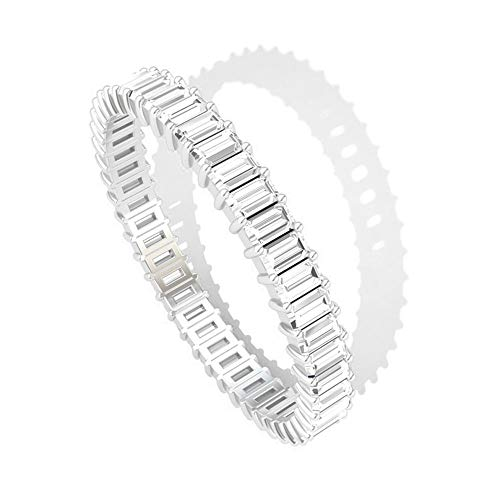 1 ct HI-SI Diamante Anillo de boda, Baguette Eternity Banda, Anillo de Oro, 14K Oro blanco, Size:EU 70