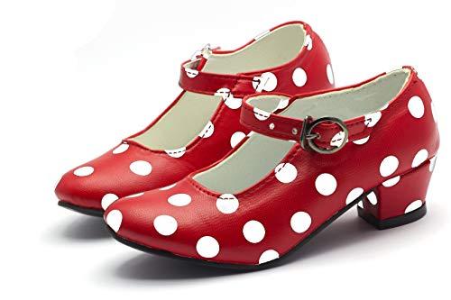 Costumizate! Zapatos de Baile Flamenco con Diferentes Tallas Desde niña a Mujer. Precioso Color Rojo con Lunares Blancos Talla 30