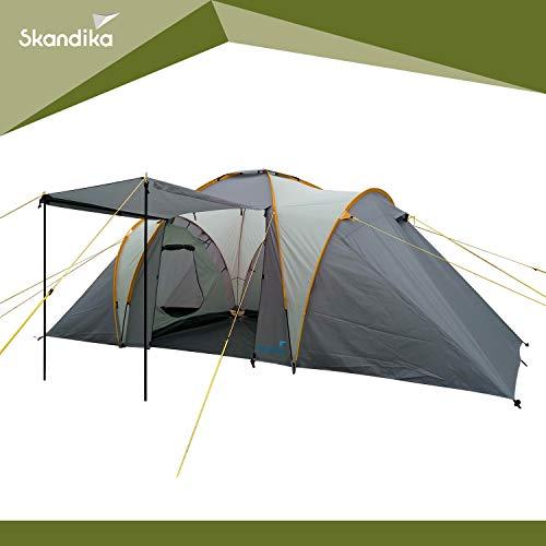 Skandika Daytona 6 Person/Man Dome Family Camping Tent with 3 Sleeping Cabins, 3000 mm Water Column, 195 cm Peak Height & Sun Canopy (Grey)