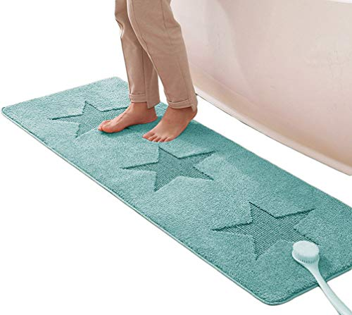 GGoty - Alfombrilla de baño con diseño de alfombra de baño extragrandes, muy absorbente, antideslizante, azul, 50x150cm