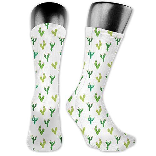Medium long Crew Socks,Cactus,Desert Exotic Botany Themed Pattern with Saguaro Succulent Plants Print,Unisex 15.7',Multicolor