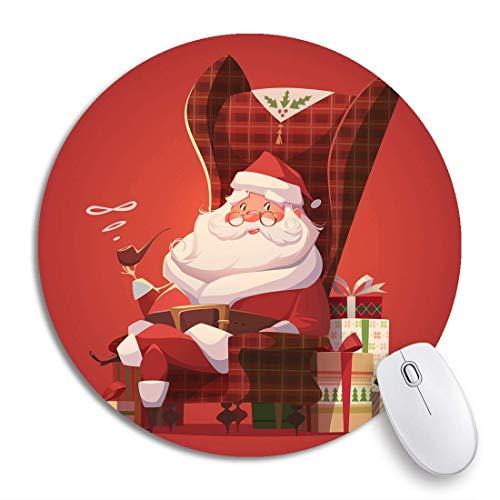 Runder Mausblock Roter fröhlicher Weihnachtsmann im Stuhl Weihnachtshaus Glückliches rutschfestes Gummibasis-Mausmatten-Spiel-Mauspad für Computer