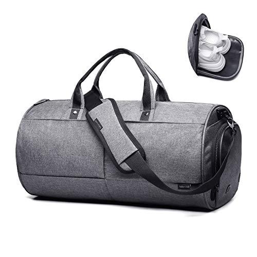 Valleycomfy Sport Tasche Turnbeutel groß Kapazität mit Schuhen der Tasche Hand/Schulter/Umhängetasche Fitness Gepäck Taschen 22L, Grau