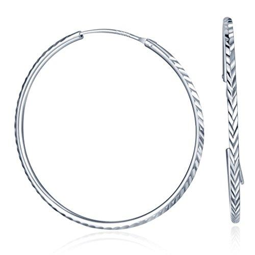 Infinite U Orecchini a cerchio da donna in argento sterling 925, 4-6cm, argento, colore: Silver-L, cod. R1445-L