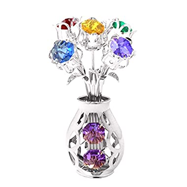 Chrome Plated 5 Flowers in Vase Free Standing with Mixed Swarovski Element Crystals