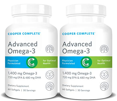 Cooper Complete - Advanced Omega 3 - Fish Oil Supplement, Concentrated EPA + DHA Omega-3 Fatty Acids 1400 mg - 60 Day Supply …