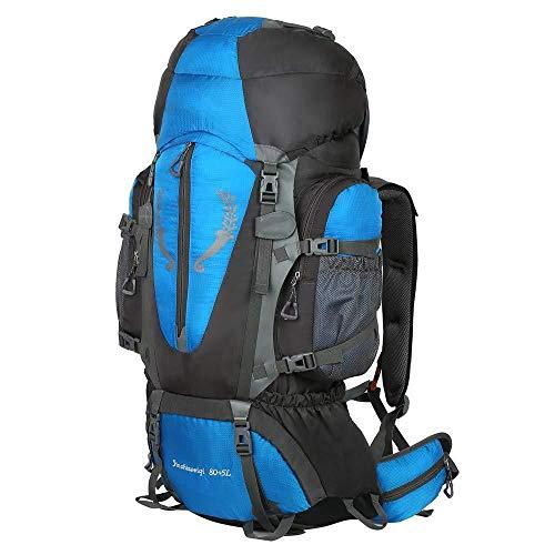 JTKDL Sac à Dos De Randonnée 80L + 5L Trekking Backpack pour Femmes Et Hommes étanche avec Sacoche De Ceinture De Hanche,Blue