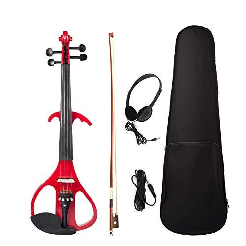 Violín eléctrico violín violín de tamaño completo 4/4 de arce con diapasón de cuerpo de arce con funda de arco hecho a mano violín (tamaño libre; color: rojo)