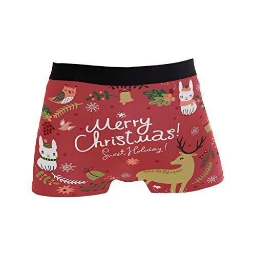 MNSRUU Herren Unterhose mit Weihnachtsmotiv Hirsch, Kaninchen, Eulen, reguläre Beine, Boxershorts Gr. M, multi
