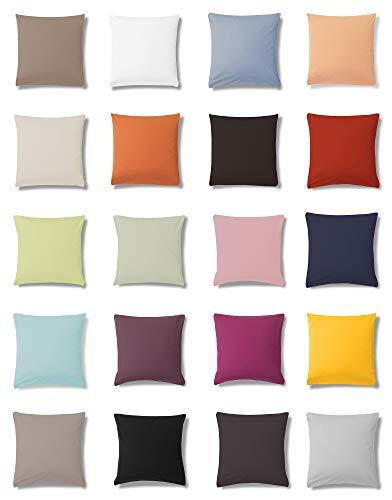ESTELLA Jersey Kissenbezüge Kissenhülle in 5 Größen und 22 Farben, Kissenbezug 40x80 cm Farbe 800 Kiesel