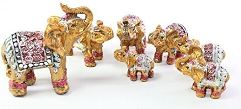 calidad de primera clase Feng Shui Set of 7  Vintage Small oro oro oro Indian Elephant Family Statues Wealth Lucky Figurines Home Decor Housewarming Congratulatory Gift US Seller by We pay your sales tax  gran selección y entrega rápida