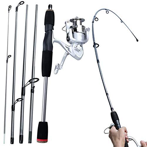 MIAOQINQIN Caña de Pescar telescópica Caña de Pescar Carrete de Viaje portátil Combo Pesca Rod y Carrete de Aluminio Carrete de la Pesca Set Cañas de Pescar (Length : Spinning Rod AV2000)