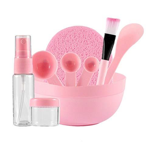 9 en 1 DIY máscara facial herramienta de mezcla de máscara de cara rosa, juego de cuencos con máscara facial cepillo facial máscara facial, cuenco espátula de mascarilla para mascarilla