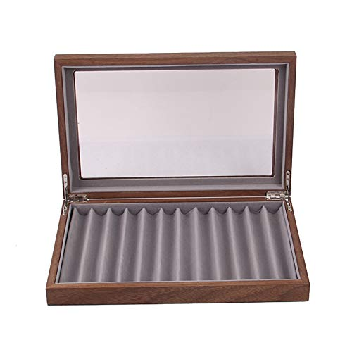 Luntus Caja de Almacenamiento de 12 Plumas de Madera, Caja de ExhibicióN de Pluma de Vidrio con Tapa, Caja de ExhibicióN de ColeccióN de Pluma de Ventana de Vidrio Superior 2