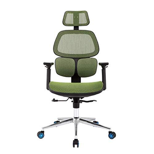 YLLN Home Computer Stuhl, Ergonomischer Drehstuhl Bürostuhl Taillenstahlfuß Atmungsaktives Netz (Farbe: GRÜN)