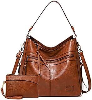 النساء حمل حقيبة حقائب بو الجلود الأزياء هوبو حقائب الكتف مع حزام الكتف قابل للتعديل 2 قطع