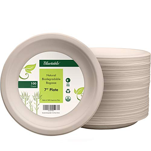 Compostable Plates 7 Inch Disposable Paper Plates - Made from 100% Sugarcane - Biodegradable Eco Friendly bagasse Plates Natural heavy duty Party Plates - No Plastic BPA Free - by Bluetable [100 Pack]
