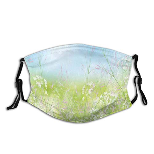 BOSENKE Floral Field Meadow Fresh Grass Weeds Plant Herbs On Earth with Vivid Sky Graphic Dust Face Cover Washable Reusable,Dustproof,Cycling