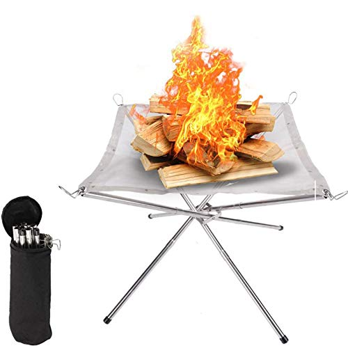 Portable Fire Pit, Foldable Outdoor Wood Burning Camping Fire Pits, Steel Mesh Fireplace with Carrying Bag for Camping, Outdoor, Patio, Backyard And Garden