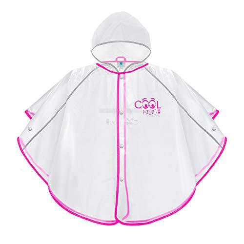 PERLETTI Regenponcho für Kinder Jungen Mädchen - Weiche Regenjacke Rosa Transparent mit Reflektorenbänder - Regencape Wasserdicht mit Kapuze und Knöpfe - Cool Kids (3/6 Jahren, Pink)