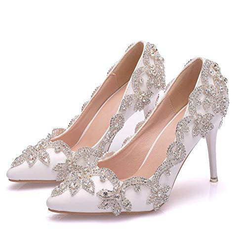 DEAR-JY Frauen Brautschuhe, 9cm Einfache Größe Strass High Heel weiblichen Stiletto spitzen Hochzeitsschuhe,Schuhe Abendkleid Schuhe,Weiß,39
