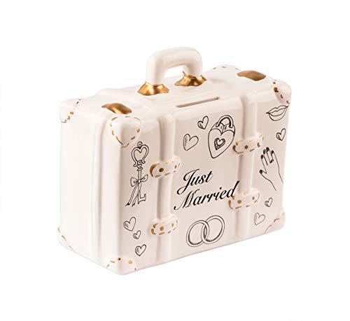 BigDean Spardose Koffer Just Married 15 x 11cm - Aus Keramik - Hochzeitsgeschenk Sparbüchse, Sparschwein - Mit Schlüssel - Flitterwochen, Hochzeit, Brautpaar