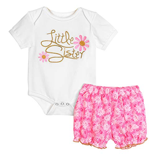 Gyratedream Baby Girls Coton Little Big Sister Tenues assortiments Barboteuses brodées avec Chemises 0-7 Ans