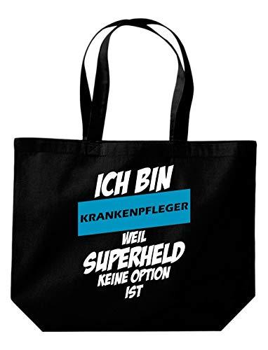 Shirtstown - Sacchetto con scritta in tedesco 'Ich bin Krankenschwester weil Superheldin keine Option ist, kaufen Logo Motiv extra große Tasche, colore: Bianco, Nero (Nero ), 35 cm x 39 cm x 13 cm