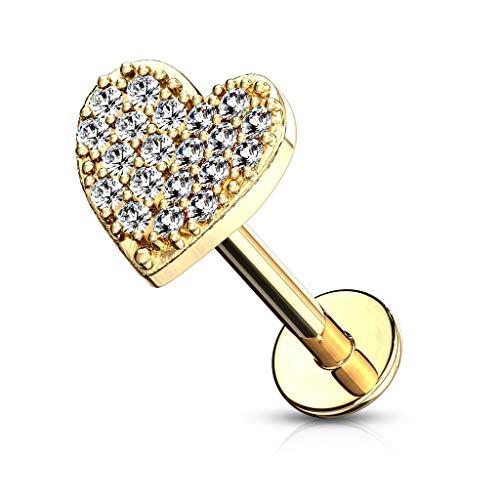 Forbidden Body Jewelry 16g 6mm Internally Threaded Cartilage/Tragus/Labret/Monroe Stud w/CZ Heart Top, 14k Gold Plated 14k Gold Plated Labret