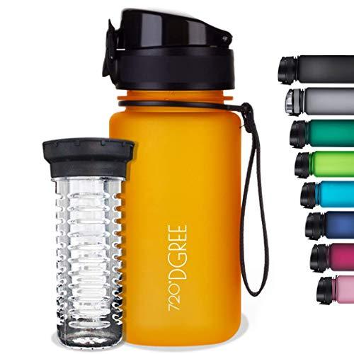 720°DGREE Botella de Agua uberBottle – 350 ml, 350ml, Amarillo   Novedosa Botella Deportiva   Sin BPA   Ideal para niños, Fitness, Deportes, fútbol, guardería, Escuela, pequeños, antigoteo
