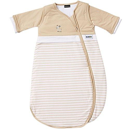 Gesslein Bubou Design 099: Temperaturregulierender Ganzjahreschlafsack/Schlafsack für Babys/Kinder, Größe 110, beige weiß mit Reh Applikation