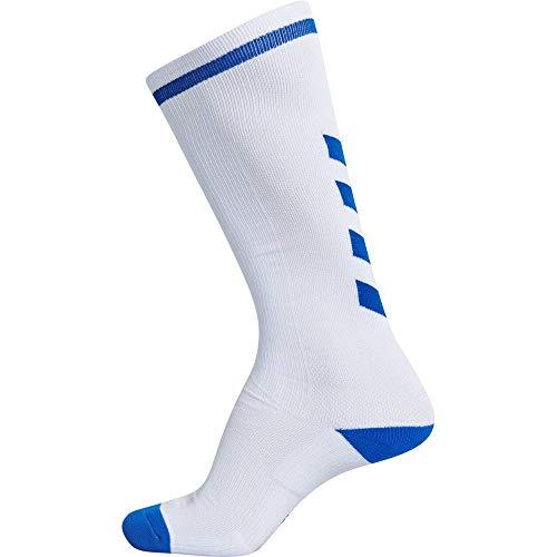 hummel Calcetines altos unisex Elite Indoor, Unisex adulto, Calcetines, 204044-9368, Blanco/azul real, 27W x 30L