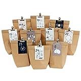 Calendario de Adviento para rellenar – 24 bolsas de regalo y 24 tarjetas de visita con números y pinzas de metal – rosa azul – para manualidades – Navidad