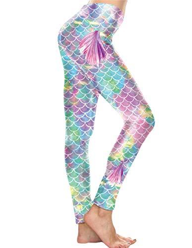 Mallas Deporte Mujer Leggins Fitness Yoga Pantalón Medias Deportivas Patrón de Dibujos Sirena Gym Pantalones Deportivos Elástico Polainas para Running Pilates Ejercicio (Rosa, S)