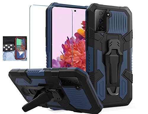 Coverl JoHenQii - Carcasa para Samsung Galaxy S21 Plus 5G (con clip para cinturón, protector de pantalla de cristal templado), color azul oscuro
