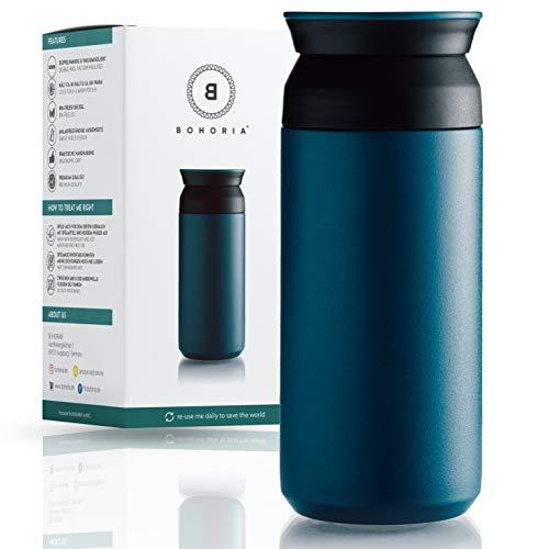 BOHORIA® Premium Edelstahl Kaffee-to-Go-Becher – Isolierbecher – Thermo-Becher – Doppelwandig & Vakuumisoliert - 360 ml – Reise-Becher Kaffee und Tee zum Mitnehmen – Autobecher Travel Mug (Teal)
