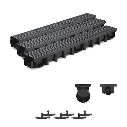 3m Entwässerungsrinne für modulares System A15 98mm, komplett Stegrost Kunststoff, Schwarz Line