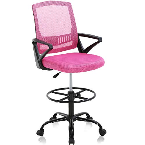 Drafting Chair Tall Office Chair Ergonomic Mid Back Mesh Computer Desk Chair with Lumbar Support & Foot Ring Height Adjustable Rolling Swivel Drafting Stool Task Executive Chair for Standing Desk