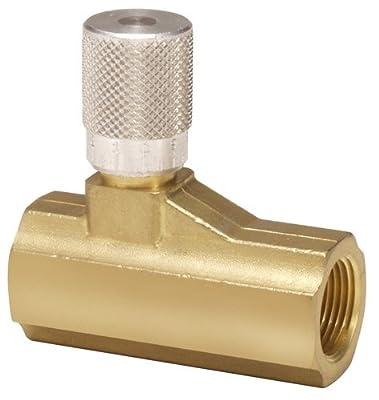 """Parker 003371003 337 Series Brass Micrometer Flow Control Valve, 1/2"""" NPTF Port, 250 psi, Fine Adjustment, 126 scfm by Parker Hannifin"""